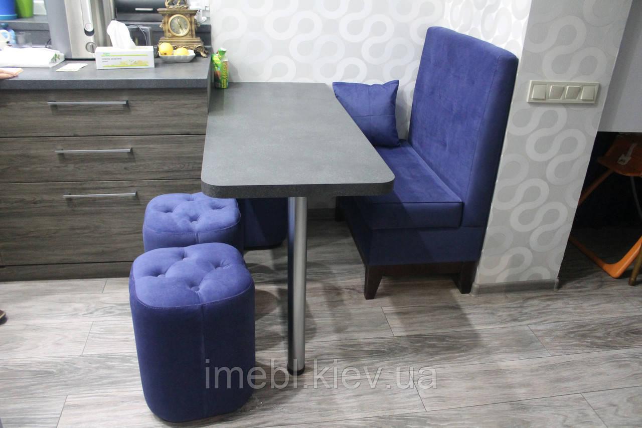 Маленький кухонный диванчик на деревянных ножках (Светло-синий)