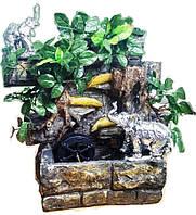 Фонтан CЛOH настольный подвесной декоративный Пейзаж деревья бирюзовый поток подсветка МЕЛЬНИЦА 35=35=16 078