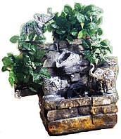 Фонтан настольный подвесной декоративный Пейзаж деревья бирюзовый поток подсветка МЕЛЬНИЦА 35=35=16