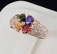 Изумительное кольцо с кристаллами Swarovski и c позолотой 0455