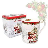 Кружка из фарфора с новогодним рисунком в подарочной коробке «Christmas Time», h-9,5 см, 375 мл (880-9008)