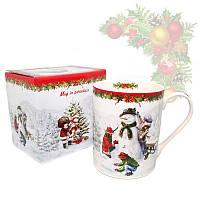 Кружка из фарфора с новогодним рисунком в подарочной коробке «Christmas Time», h-9,5 см, 375 мл 880-9009