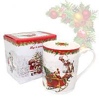 Кружка из фарфора с новогодним рисунком в подарочной коробке «Christmas Time», h-9,5 см, 375 мл (880-9010)