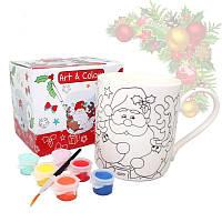 Кружка-раскраска с новогодним рисунком с красками и кисточкой в подарочной коробке «Santa», 450 мл 880-9036