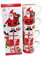 Набор фарфоровых кружек 4 шт с новогодним рисунком в подарочной коробке «Santa Claus», 350 мл (880-9038)