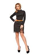 """Платье из трикотажной ткани """"Ангора"""" с длинным рукавом, черного цвета, р.42, 44, 46, 48"""