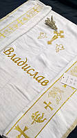 """Именная крыжма с вышивкой  махровая модель """"Владислав""""(крестильное покрывало) вышивка, дизайн."""