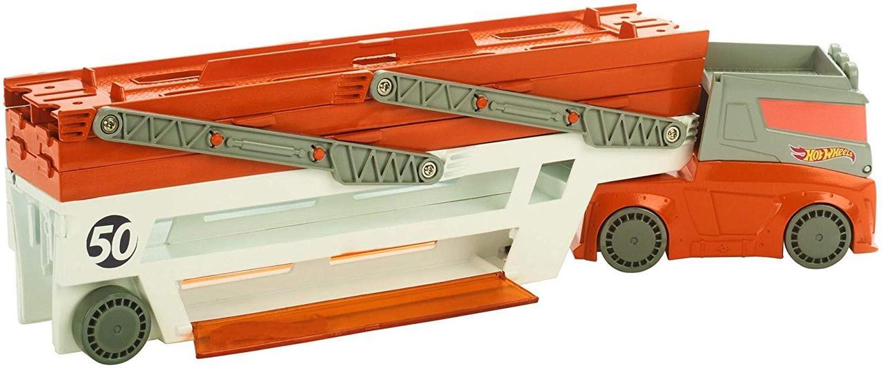 Hot Wheels Трейлер грузовик автовоз хот вилс на 50 машинок оранжевый