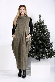 Женское длинное платье мешок синего цвета с воротником 01015 / размер 42-74 / большие размеры, цвет горчица