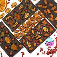 Натуральный шоколад БЕЗ САХАРА и МОЛОКА с ягодами годжи и орехами