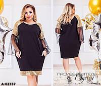 Женское Черное Красивое ПЛАТЬЕ Батал с золотой, серебряной паеткой 8435d1baf6b