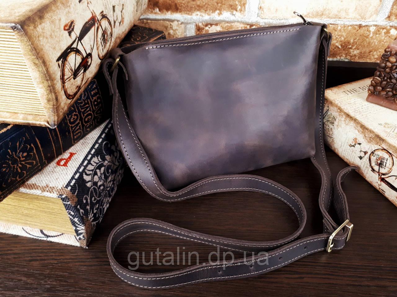 Женская сумка ручной работы из натуральной кожи цвет коричневый