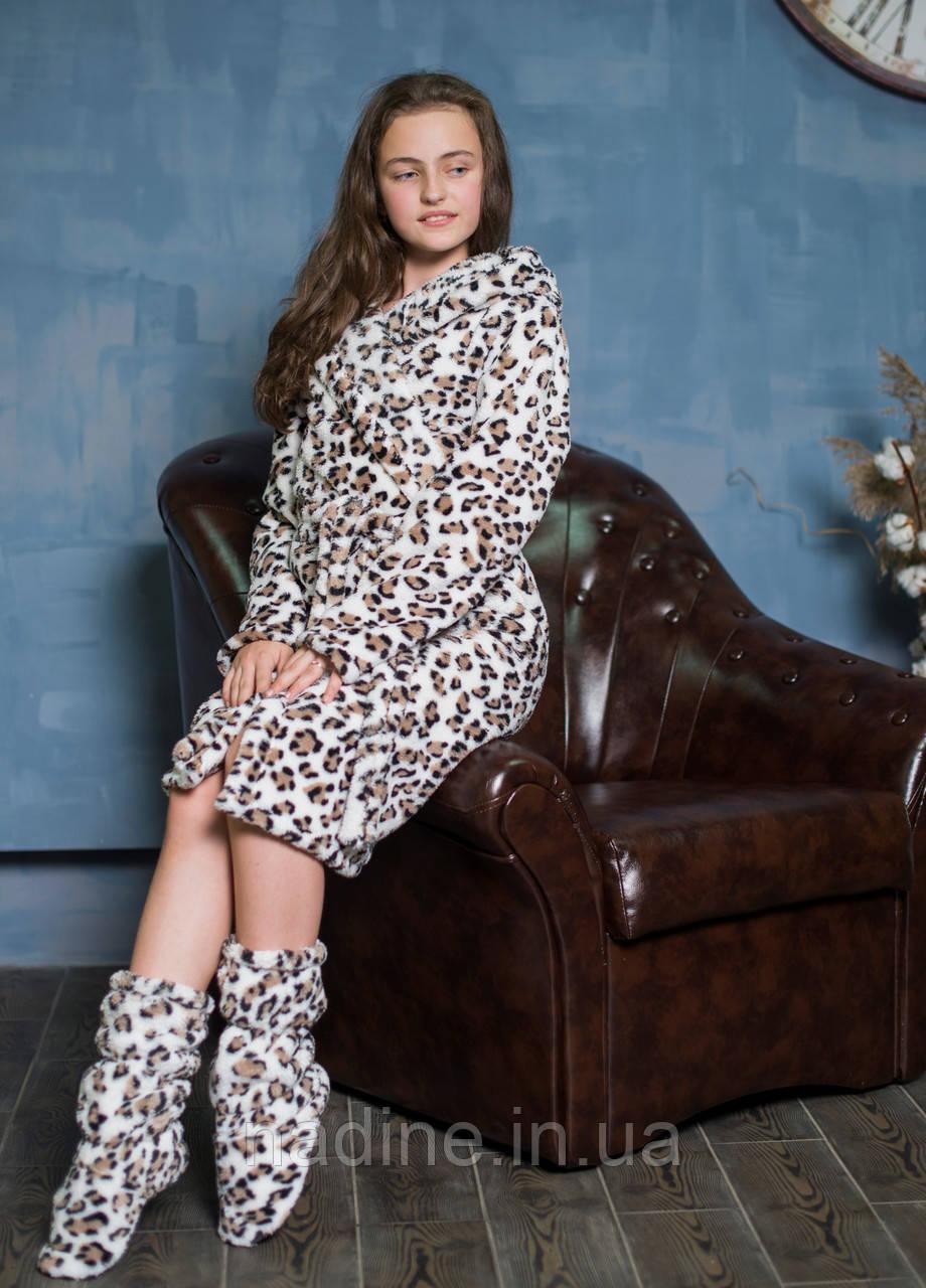 """Махровий Халат і чобітки Nadine """"Сніговий Леопард"""" 134"""