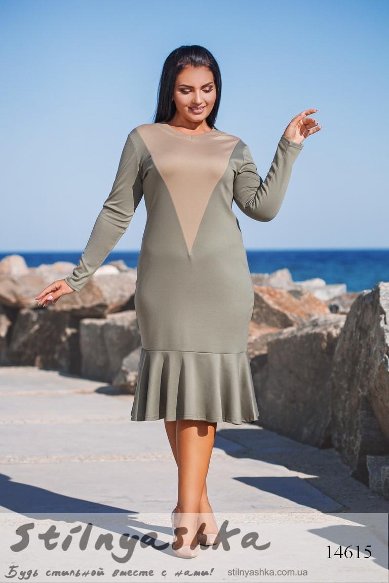 24b5f01155e Повседневное трикотажное платье для полных оливка - купить оптом и ...