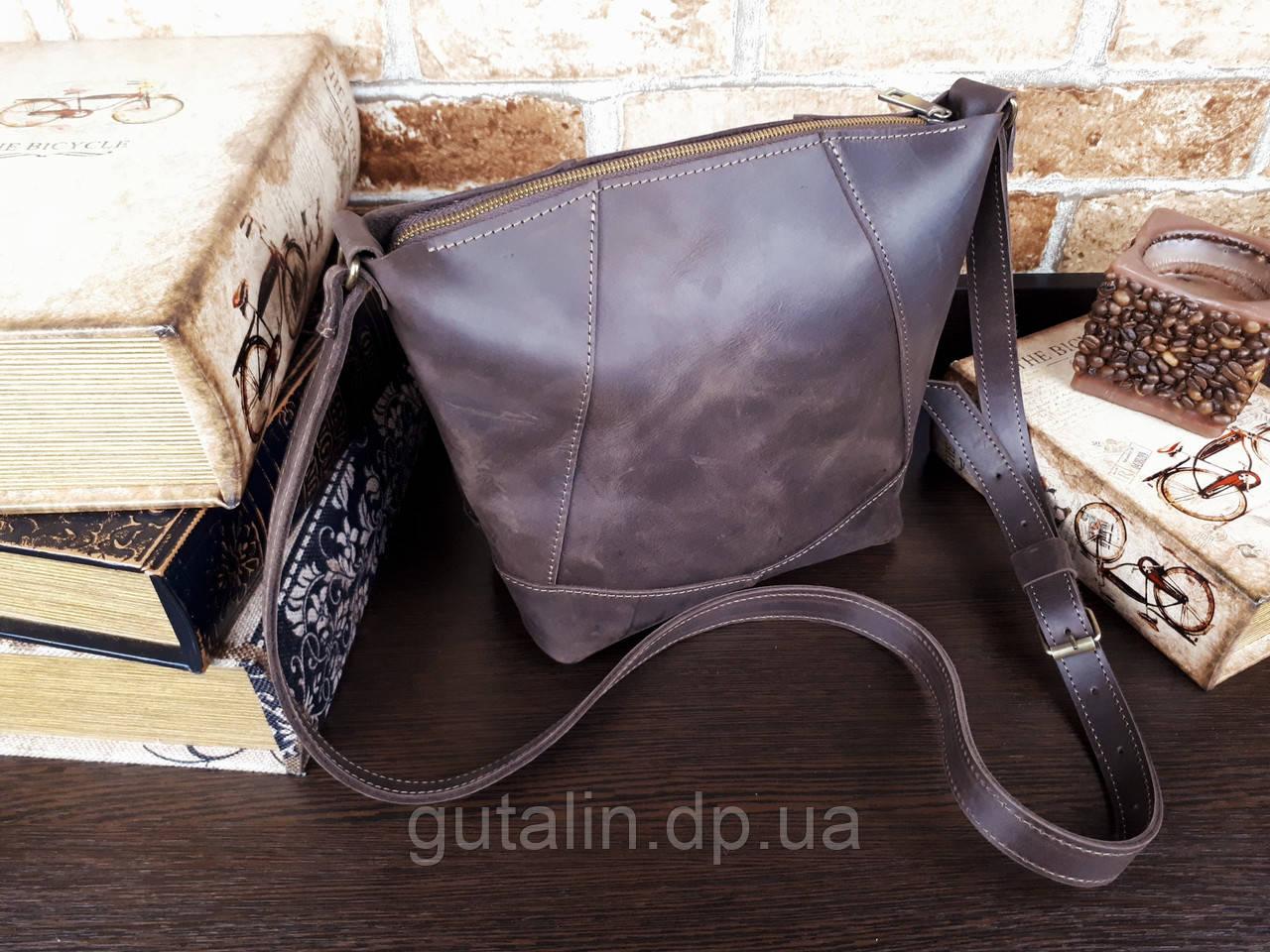 Женская сумка ручной работы из натуральной кожи Comfort цвет коричневый