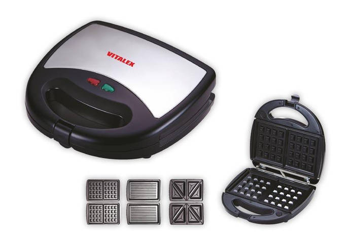 Сэндвичница Vitalex VL-5008 (3 в 1), универсальный прибор гриль/сэндвичница/вафельница, фото 2