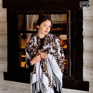 Белая павлопосадская шаль Непревзойдённая роспись