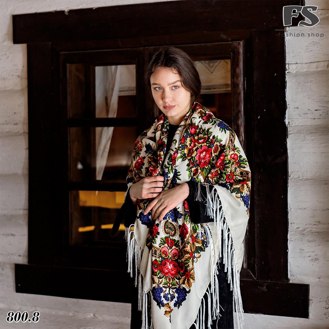 Кремовый павлопосадский платок Непревзойдённая роспись