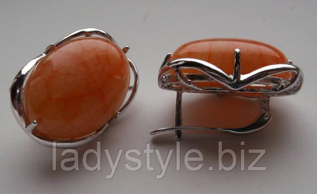 купить натуральный халцедон серебряные серьги украшения подарки женщинам