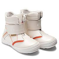 Вессение ботинки Шалунишка для девочки, белые на липучке, размер 27-31