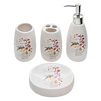 Набор для ванной комнаты с принтом Птица 4 предмета (дозатор, мыльница, стакан для щеток, стакан)