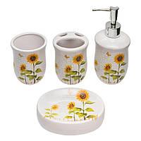 Набор для ванной комнаты с принтом Подсолнух 4 предмета (дозатор, мыльница, стакан для щеток, стакан)