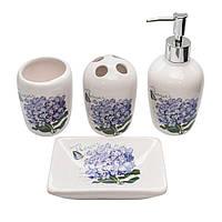 Набор для ванной комнаты с принтом Сирень 4 предмета (дозатор, мыльница, стакан для щеток, стакан)