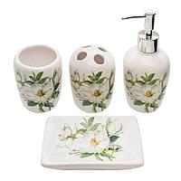 Набор для ванной комнаты с принтом Магнолия 4 предмета (дозатор, мыльница, стакан для щеток, стакан)