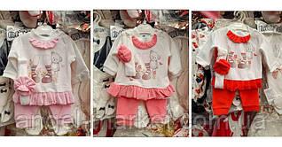 Велюровий костюм для дівчинки 0-3, 3-6, 6-9 місяців.
