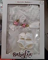 Набор для крещения девочки (3 предмета: платье, повязка, пинетки)