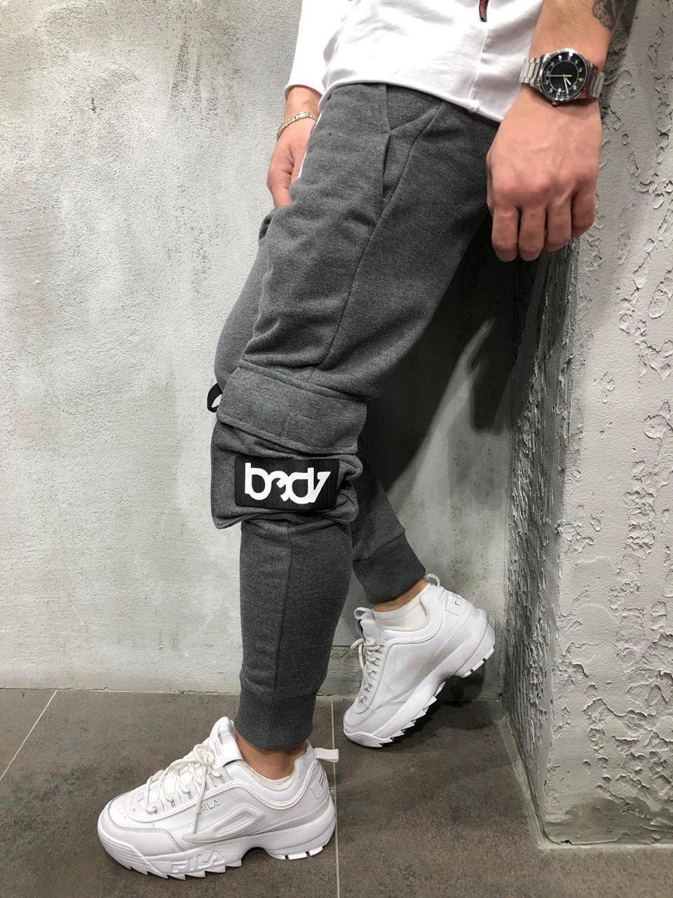 b0541c06 Мужские спортивные штаны с накладными карманами серые - Интернет-магазин  обуви и одежды KedON в