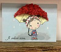 Картинка на дереве с натуральным мхом, Девочка под зонтом.
