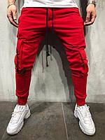 Мужские спортивные штаны с накладными карманами красные