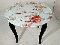 Стол стеклянный круглый на деревянных опорах Класик