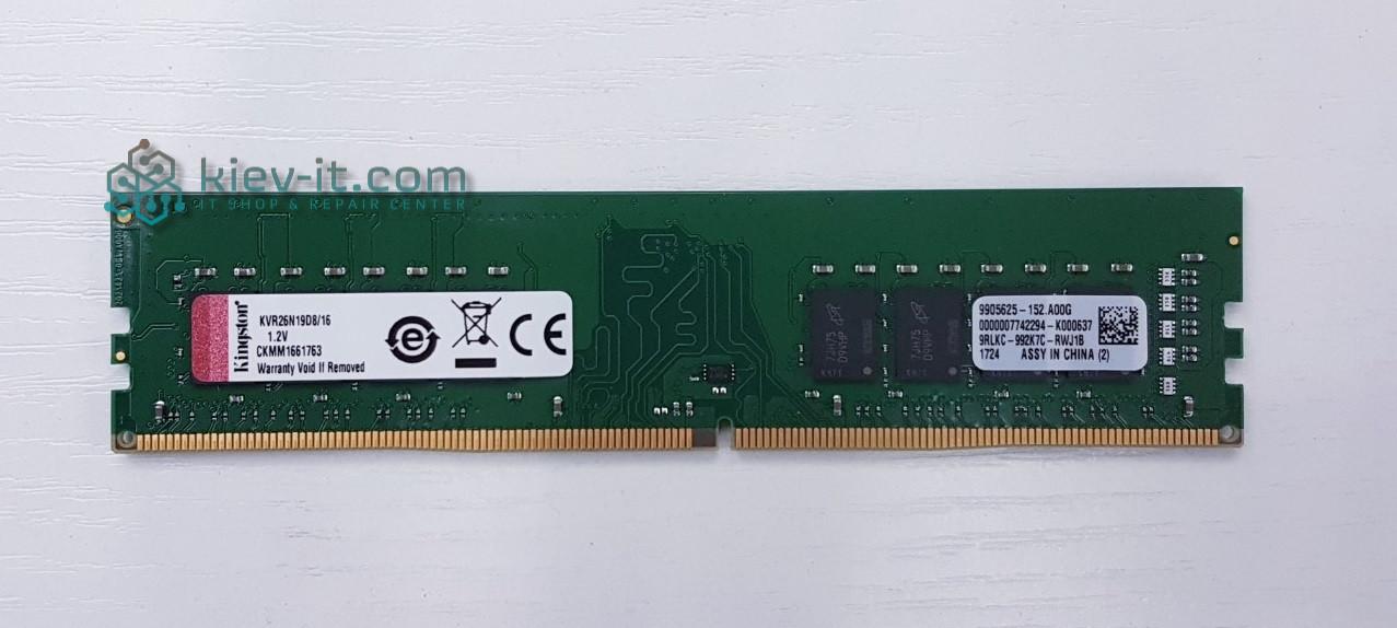 """Память Kingston 16 GB DDR4 2666 MHz (KVR26N19D8/16) """"Over-Stock"""" Б/У"""