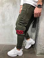 Мужские спортивные штаны с накладными карманами цвета хаки