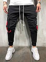 Мужские спортивные штаны с накладными карманами черные