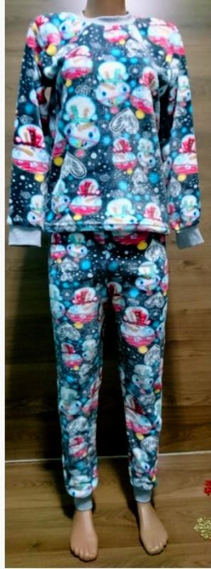 Теплая пижама для девочки подростка с рисунком Снеговики 140-160 р, детские пижамы оптом от производителя