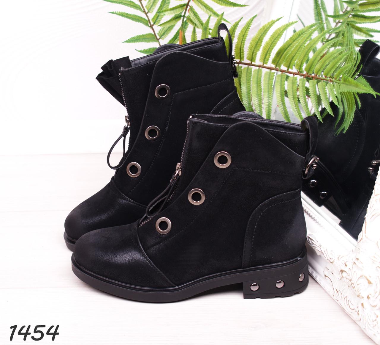 68ffa518 Ботинки женские зимние черные замшевые на низком ходу, низкий ход, зима