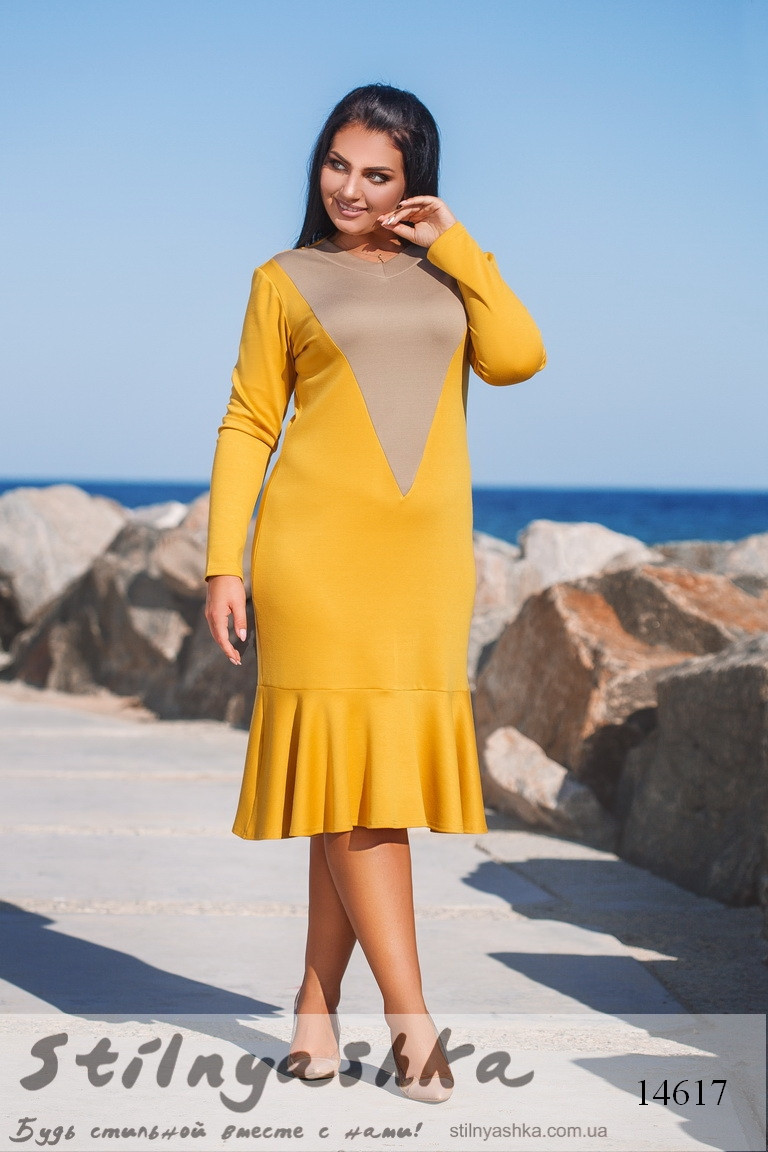 a2c2bb585c2 Повседневное трикотажное платье для полных желтый - купить оптом и ...