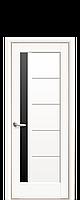 Дверне полотно Грета з чорним склом  колір Білий матовий