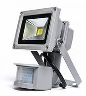 Светодиодный прожектор 10W, 220V, IP44, 800lm, 6500K белый холодный, с датчиком движения