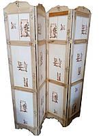 Ширма на 4 створки  с китайским орнаментом, ясень (185 х 164 см)