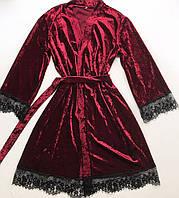 Женский халат S-M размер бордо