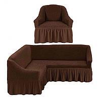 Чехол на угловой диван и кресло Шоколад