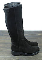 Зимние замшевые сапоги на низком каблуке Lonza
