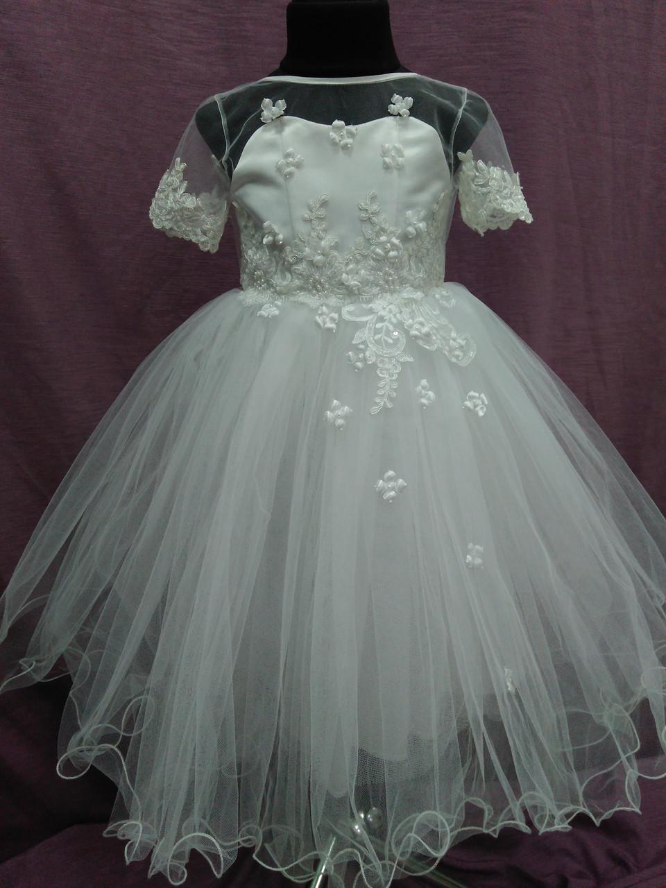 Платье детское нарядное белое на 3-5 лет