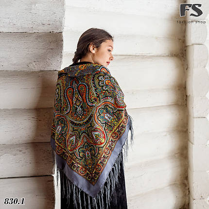 Серый павлопосадский платок Княжий, фото 2