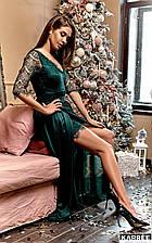 Вечернее платье с длинной съемной юбкой Янина - изумрудный (2 цвета)  размер S M L (кр)