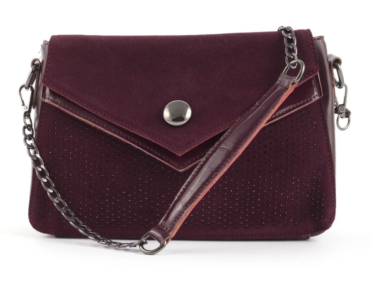 Невелика стильна шкіряна жіноча сумочка з замшевої лицьовою частиною зі стразами Solana art. 7315 Туреччина